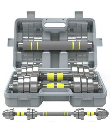 set gantere otel 40 kg+banca multifunctionala