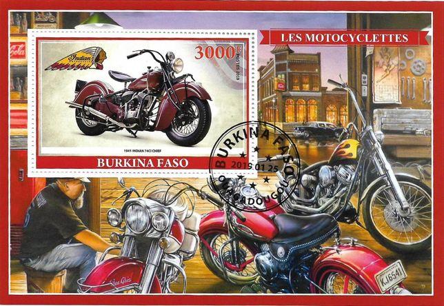 Super timbre colita stampilata Burkina Faso, MOTOCICLETE Harley