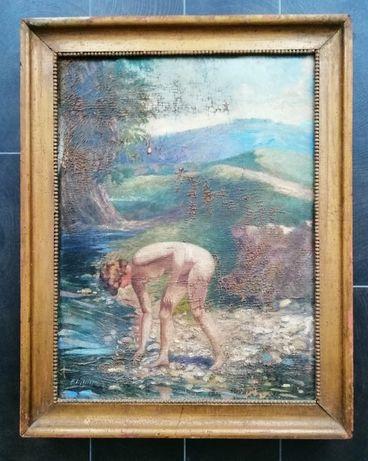 Pictură în ulei - Femeie la scăldat