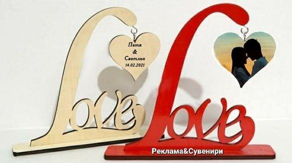 Поставка Love,  снимка или текст,Подарък,Дървена поставка