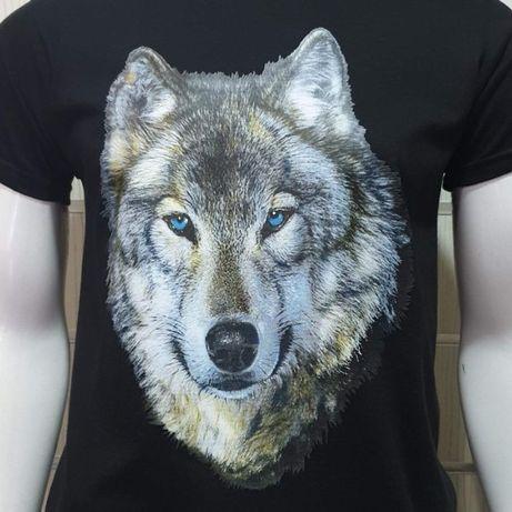 Нова мъжка тениска с щампа вълк със сини очи, серия вълци