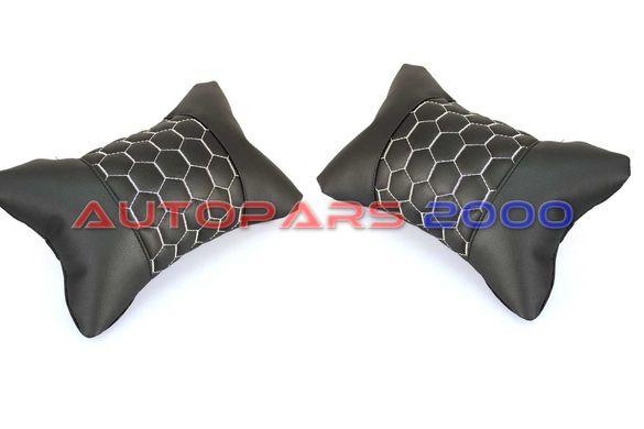 Възглавници за автомобилна седалка / Еко Кожа / черни с бял шев