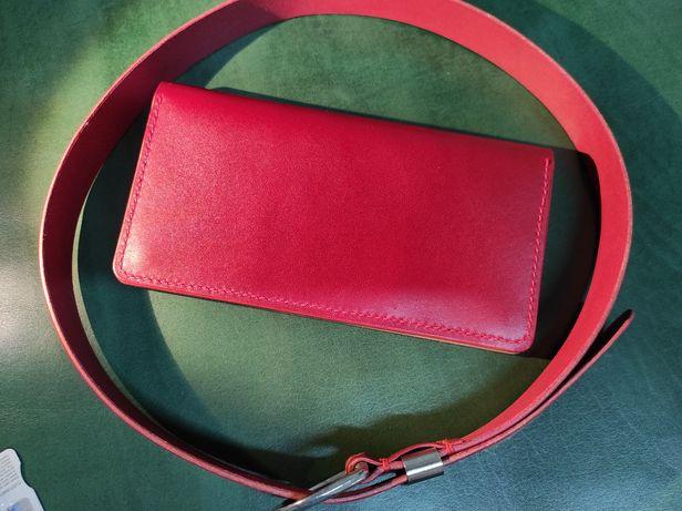 Set portofel + curea dama lucrate manual din piele naturala