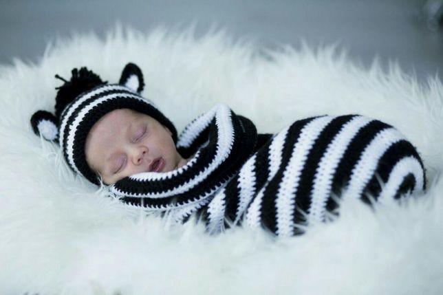 Costum pentru bebe, ședința foto. Zebra