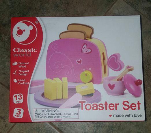 Детски сет тостер дървен чисто нов