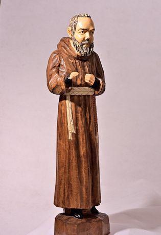 Vintage.Padre Pio statueta sculptata in lemn