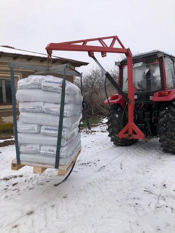 Macara girafa pentru big bag azot hidraulica in tiranti tractor