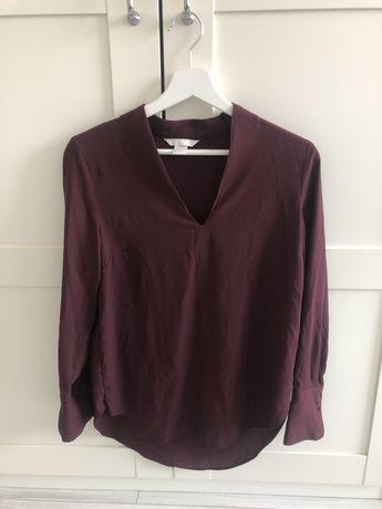 Риза с V-образно деколте в цвят бордо