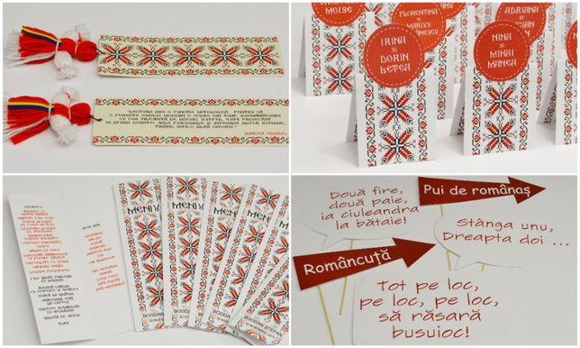 set tematic papetarie nunta botez traditional romanesc, motive popular