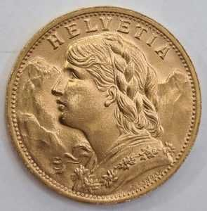Monedă din Aur Franta – 20 Franci Helvetia 1935