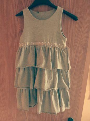 Сива рокля с перлички и камъчета+ръкави