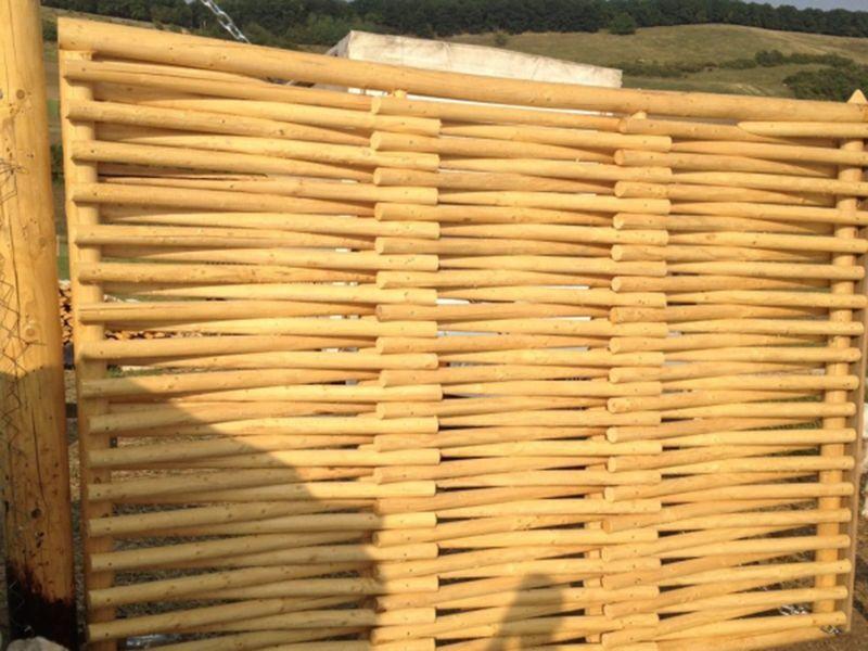 Gard Lemn din Bârne de Molid netratat, 20% Reducere, IN STOC