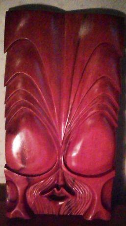 Mască unicat din lemn tei sculptată manual, 36cm
