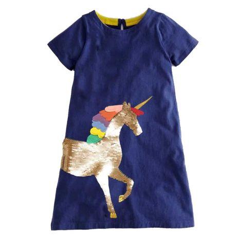Rochie rochita Unicorn NOUA 2,3,4,5,6 si 7 ani