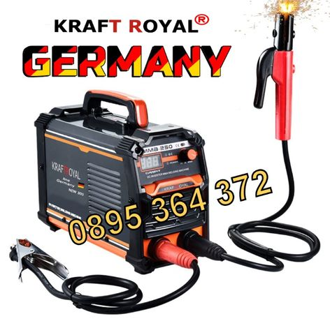 Немски професионален Инверторен Електрожен KraftRoyal 300A. IGBT - MMA