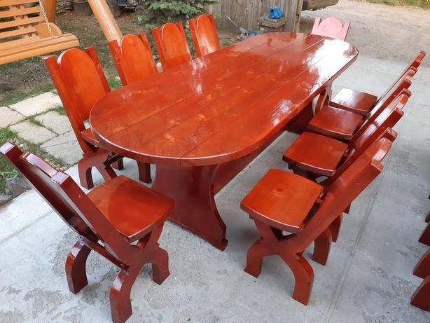 "Set ""FLORENTINA"" Set masa cu 10 scaune rustice"