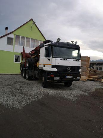 Camion forestier, Mercedes Actros, 8 v cu graifer transport busteni