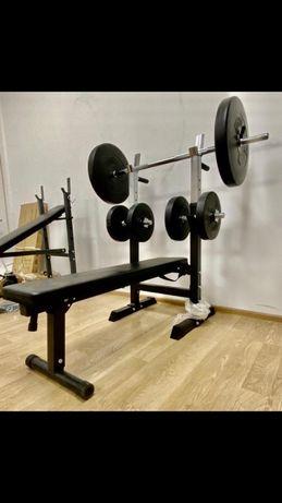 Pachet sala fitness acasa set gantere haltere reglabile banca piept