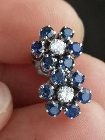 Cercei aur 18k cu safire naturale și diamante