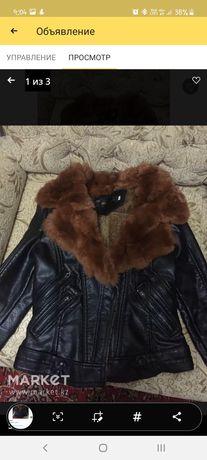 Куртка кожаная,воротник кролик
