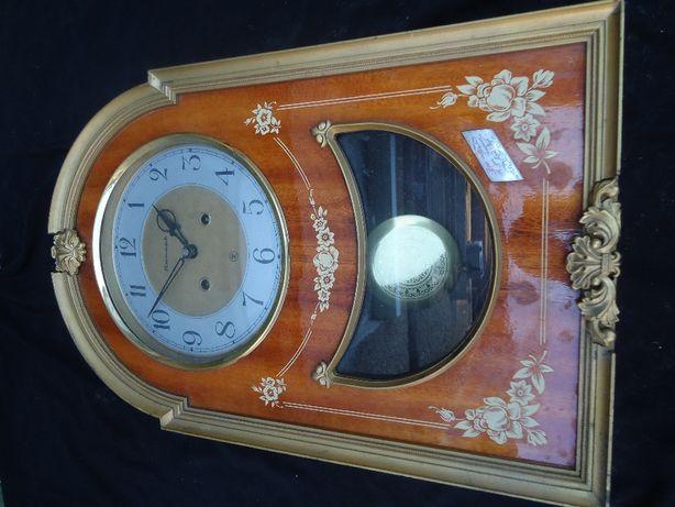 Часы Большие Старинные Янтарь Настенные с 2-мя ключами Двойной Бой
