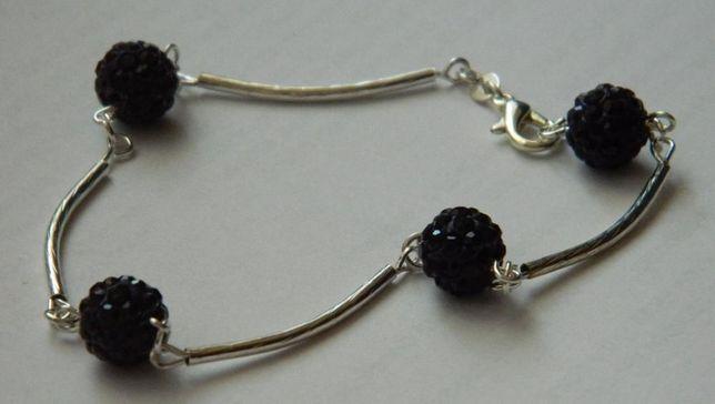 ARG231,bratara argint 925,noua/marcata, bile cristale swarovsky 1 cm