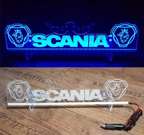 Светеща табела SCANIA с корона и две лога 12 или 24 волта