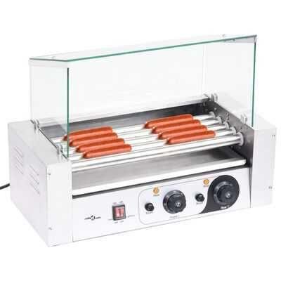 Aparat hot dog 5 role cu capac din sticlă 1000 W