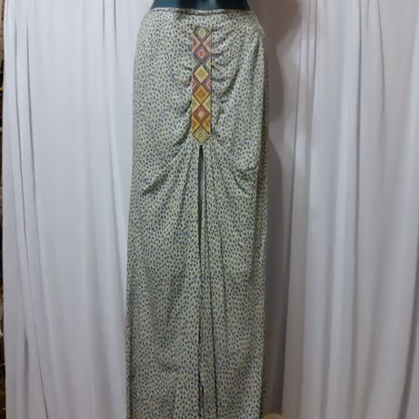 Fusta unicat altered couture upcycle stil boho hippie 38/40