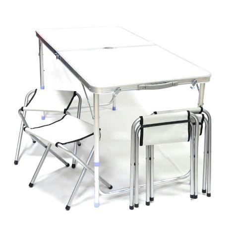 Комплект Сгъваема Маса за Къмпинг със Столове и Отвор за Чадър