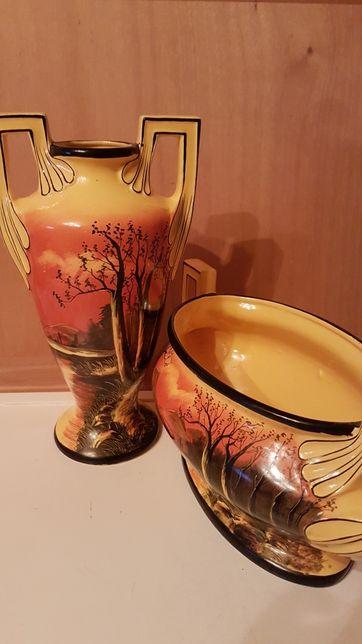 Rare/Vaza si jardiniera din portelan/Art nouveau/anii'30