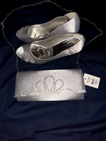 Set pantofi cu toc și geanta satin