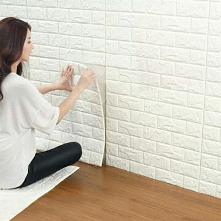 Tapet 3D Alb design perete modern din caramida in relief, Autoadeziv