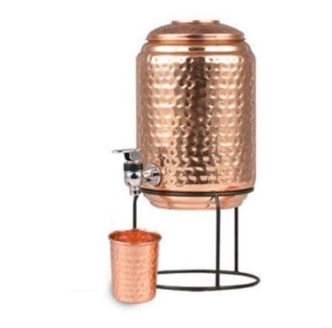 Rezervor / Recipient 5L din cupru cu stand si pahar