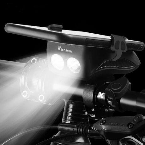 4 в 1 - Велосипедна светлина, звънец, поставка за GSM, външна батерия