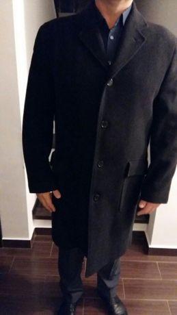 Palton elegant din stofa de culoare neagra cu insertii pe grii inchis