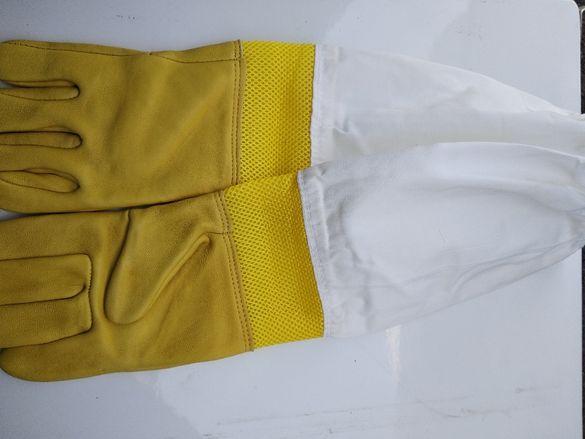 Пчеларски ръкавици естествена телешка кожа проветриви ръкавели