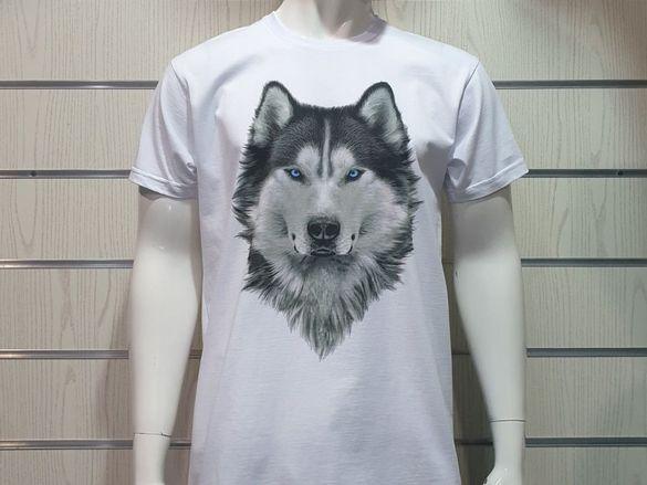 Нова мъжка бяла тениска с дигитален печат Хъски със сини очи