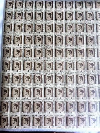 Romania Timbre Regele Mihai 1 LEU Coala cu 100 timbre nestampilate