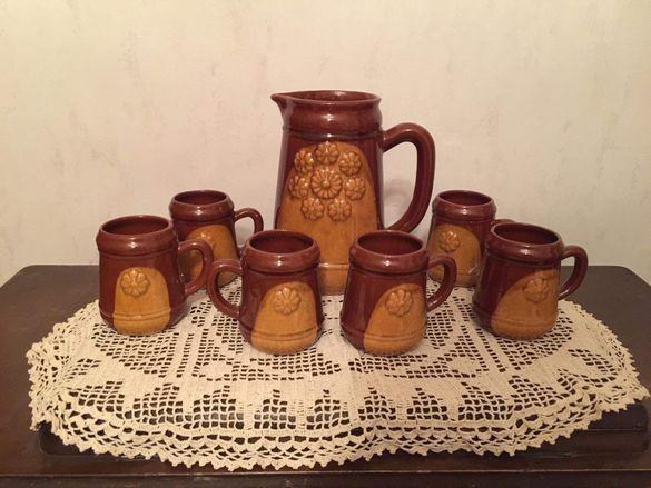 Стар керамичен сервиз за вино и ракия