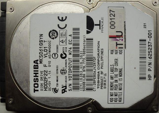 "Hard Disk-HDD Sata 2,5"" HDD-500 Gb Toshiba MQ5061GSYN Refurbished"