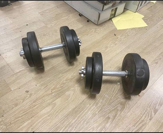 Gantere reglabile noi 20 kg, 10+10=20 kg pret promo 200 ron setul