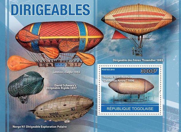 Super colita timbre filatelie tema dirijabile zeppelin