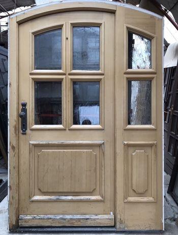 Usa casa intrare vila boltita lemn deam vitraliu termo H 217 x L 147