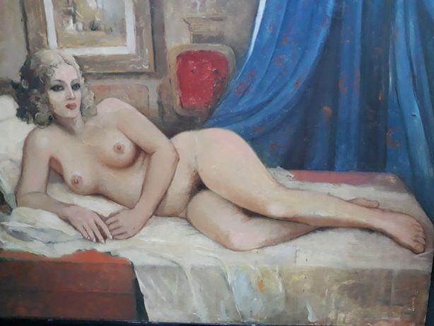 Tablou Nud pictură ulei pe pânză interbelic 105 X 125 cm