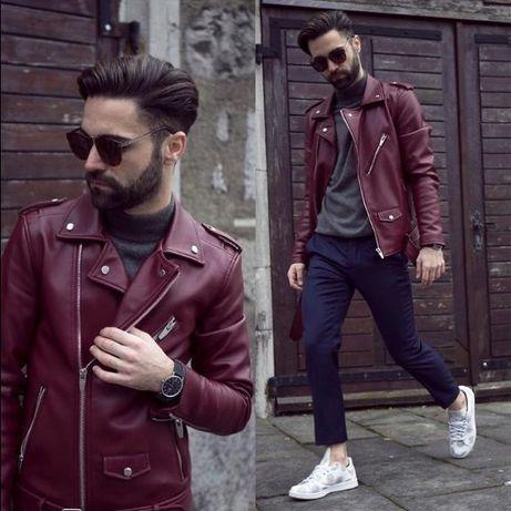 Мъжко кожено яке от изкуствена кожа Zara Red Biker Jacket