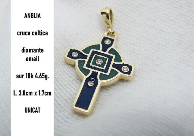 Cruce Cruciulita Aur 18K Celtica Cu Email Si Diamante