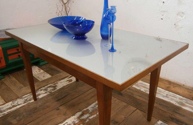 Masa veche din lemn masiv, blat de sticla, stil Mid Century (anii '60)