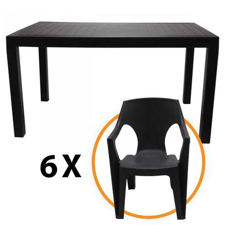Set masa cu 6 scaune, pentru gradina, din plastic