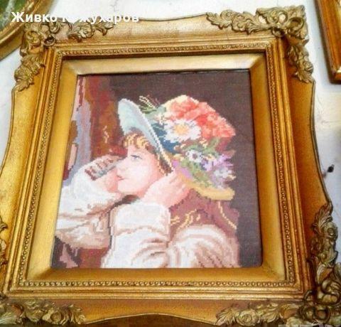 """Гоблен """"Момиченце с шапка с цветя"""". Ръчен."""